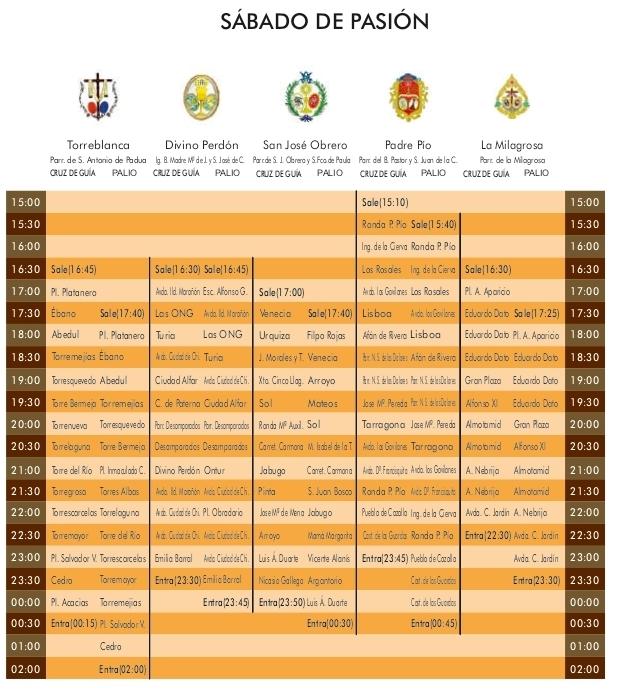 Programa Sabado de Pasión Semana Santa Sevilla 2021