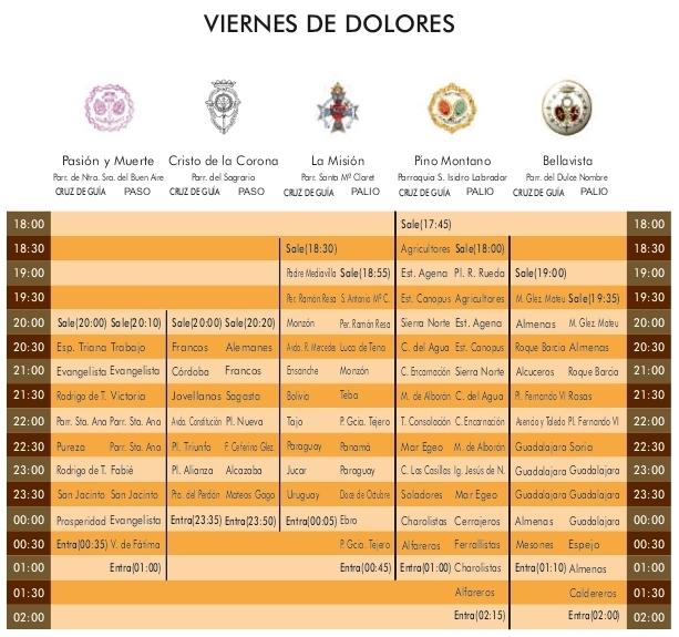 Programa Viernes de Dolores Semana Santa Sevilla 2021